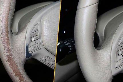 Реставрация и покраска кожи в автомобилях от мастерской Le' craft со скидкой 50%